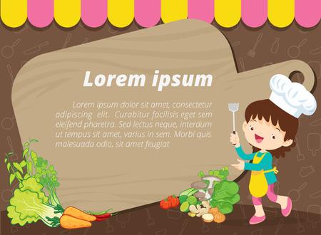 Leuke kinderen maaltijd menu vector sjabloon kleine chef-kok cartoon sjabloon. Stock Illustratie