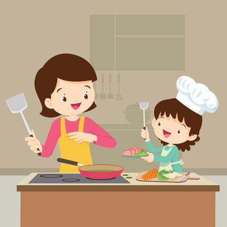 Gelukkige familie met mama en dochter koken in keuken vector cartoon illustratie.