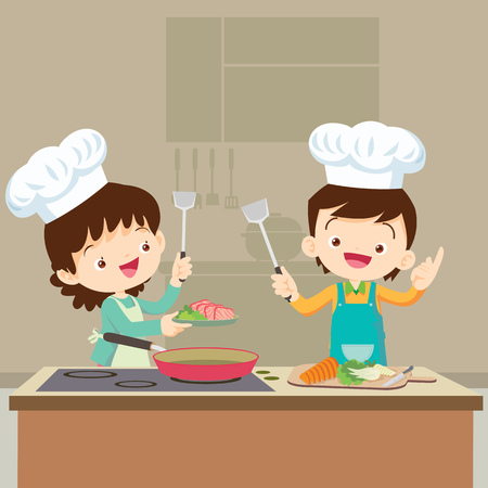 Cute Boy and Girl cooking in the kitchen. Vectores