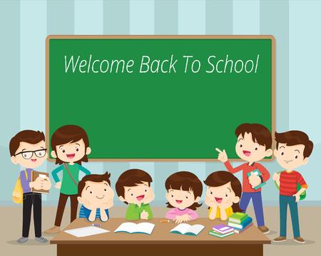 Torna a scuola, gruppo di studenti in classe.