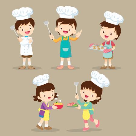 Set van Leuke Cartoon Characters Voorbereiding van Maaltijd, kleine chef-kok verschillende acties. Stock Illustratie