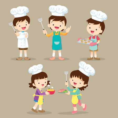 Set OF Cute Cartoon Characters Preparing Meal, little chef various actions.