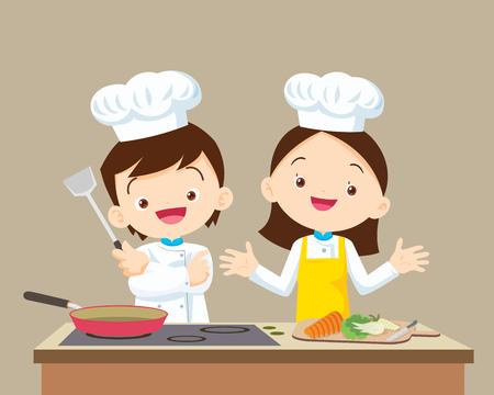 Cute Boy and Girl cocina en la cocina. Pequeña presentación del cocinero.