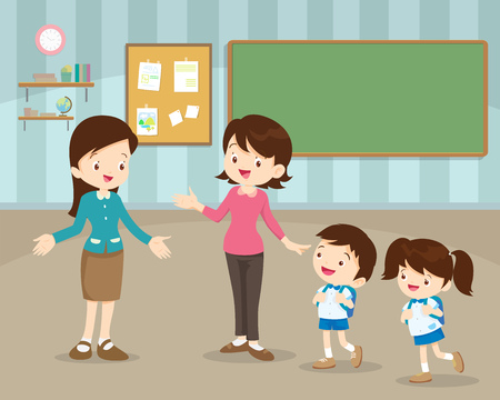 Mother take their children to the school in the morning. Happy kids go to school. Illustration