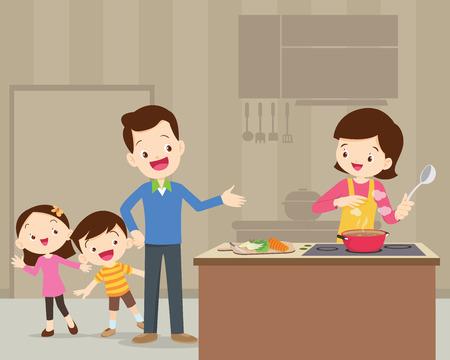 Gelukkige familie met papa, moeder, dochter, zoon koken in keuken vector cartoon illustratie