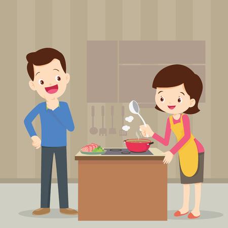 Man en vrouw in de keuken.Husband kijk naar vrouw koken in de keuken. Stock Illustratie