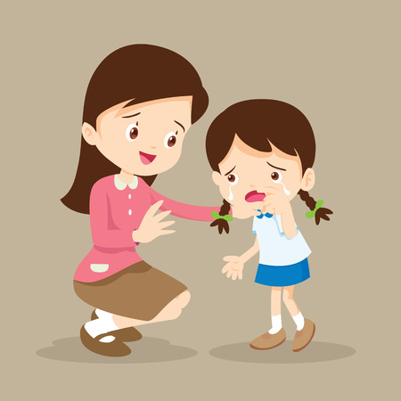 Teacher Comforting Upset Elementary School Pupil.teacher comforting crying preschool girl. Illustration