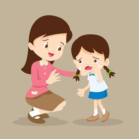 pre teen: Teacher Comforting Upset Elementary School Pupil.teacher comforting crying preschool girl. Illustration