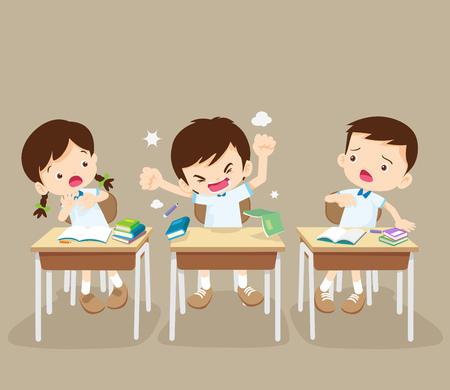 De studentenjongen boos riep bij bureau. Razende jong geitje en vrienden in klaslokaal. Rampenjongen. Stock Illustratie
