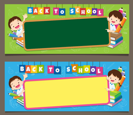 Banner set of school bags boy girl pupil,back to school concept