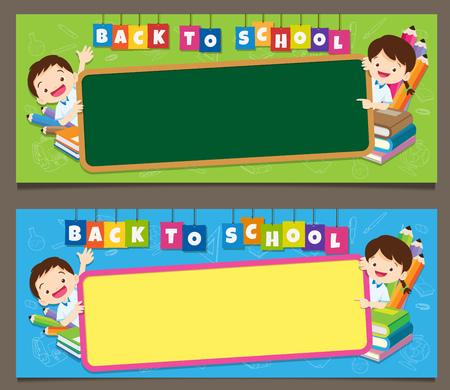 Banner set schooltassen jongen meisje leerling, terug naar school concept