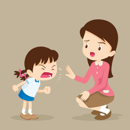 Teacher have worry and Rampage angry girl.aggressive children. Stock Vector - 78064520