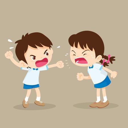 Kinder schreien einander. Junge und Mädchen streiten. Vektorgrafik