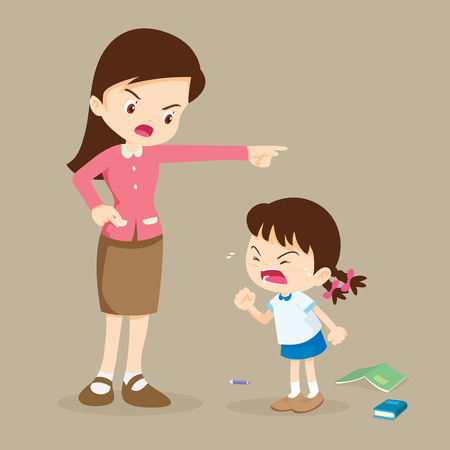 teacher scolding student girl rampage.Teacher angry at student girl and blame her. Stock Illustratie