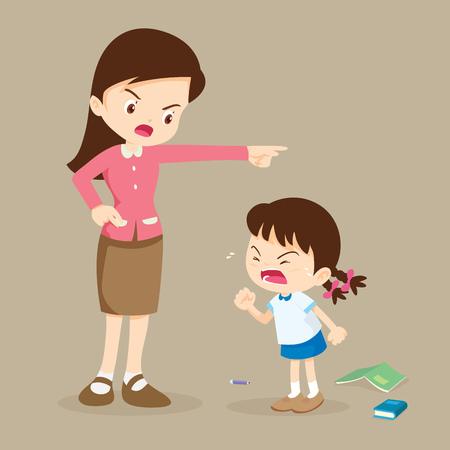Maestro regañando estudiante rampage.Teacher enojado con la chica estudiante y la culpa.