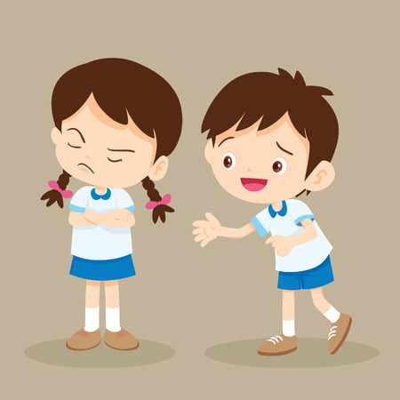 disappoint: Upset student girl and her friend try to talk.Boy reconciled to angry girl hope Forgive him. Illustration