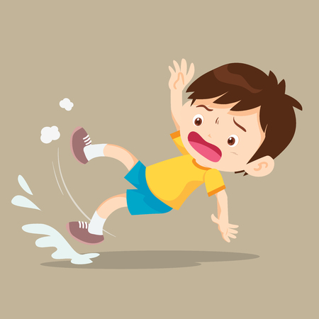 Boy slip and falling on the wet floor.