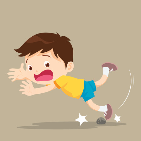 unexpected: Boy was stumbling on rock while walking. Illustration