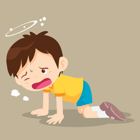befuddled: Boy crawling have Dizziness on the floor with stars spinning around his head. Illustration