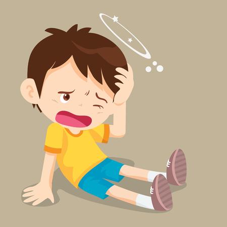 Boy have Dizziness on the floor with stars spinning around his head. Ilustração