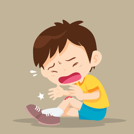 Boy having bruises on his leg.child hurt his knee on the pavement. abrasion Vettoriali