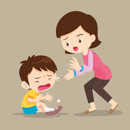 Mother looking at boy with wounds on his leg.Cute Boy crying and His Mom Comforting Upset. Illustration