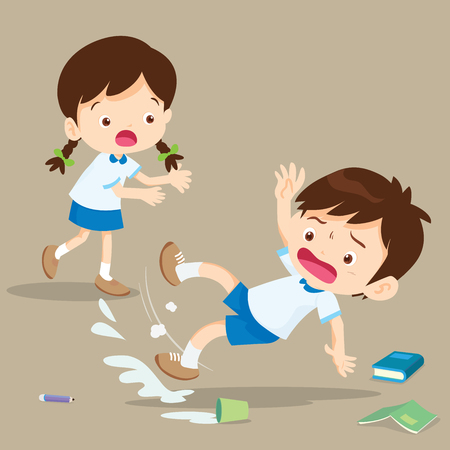 student boy falling on wet floor.Pupil looking at her friend falling. Stock Illustratie