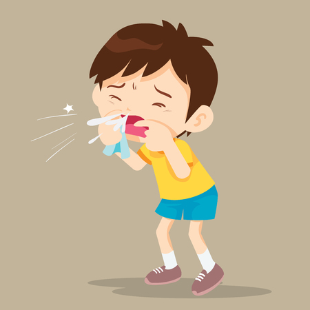 Child blow the nose. Cute boy using tissue to wipe snot from his nose Illustration