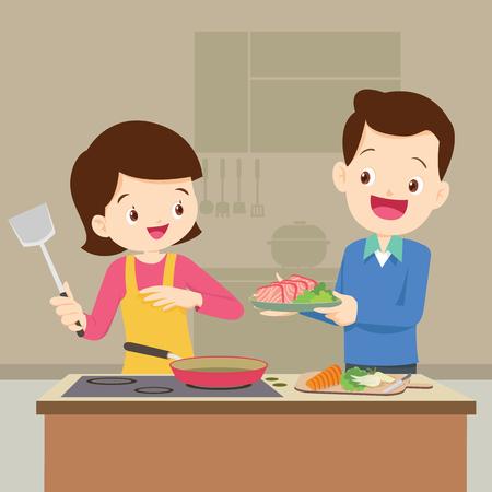Man en vrouw in de keuken. Zijnband en vrouw bereiden zich samen zo gelukkig voor.