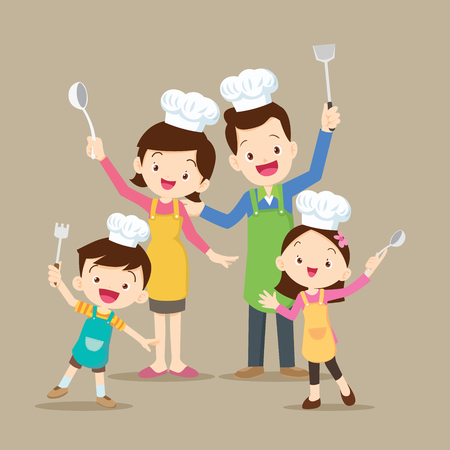 Happy family with dad ,mom ,daughter, son enjoys cooking