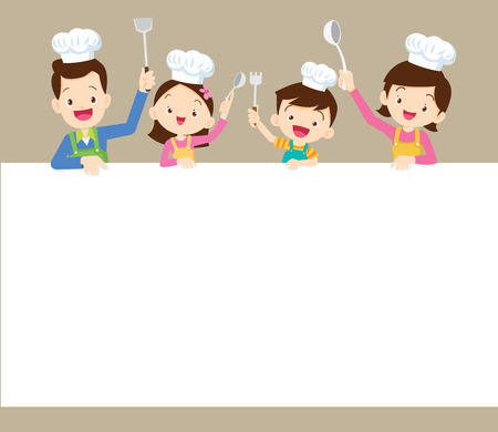 Cute family cooking meal menu ,poster,banner template. dad ,mom ,daughter, son enjoys with vegetables background. Иллюстрация