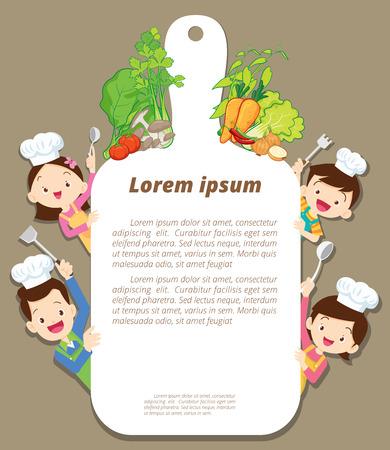 Nette Familienkochen Mahlzeitmenü, Plakat, Fahnenschablone. Papa, Mutter, Tochter, Sohn genießt mit Gemüse Hintergrund. Standard-Bild - 82049642