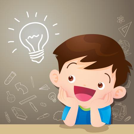 어린이 소년 생각 아이디어와 칠판을 생각합니다. 귀여운 아이 text.education 개념에 대 한 공간을 가진 교실에서 상상해 칠판 및도 서 배경 template.Can 웹