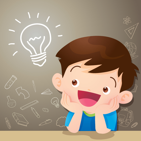 children boy thinking idea and chalkboard.Cute kid imagine in classroom with space for your text.education concept with chalkboard and books background template.Can be used for web banner, backdrop, ad, promotion. Vettoriali