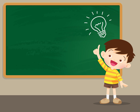 children boy thinking idea and chalkboard.Cute kid imagine in classroom with space for your text.