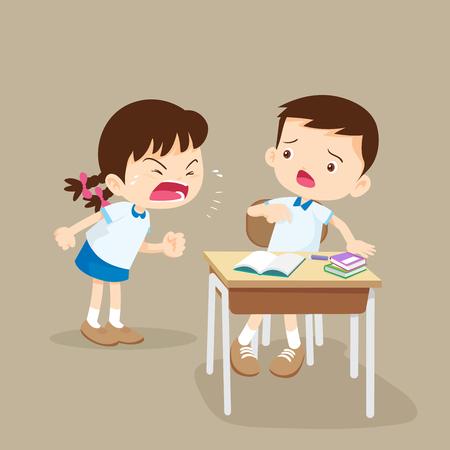 Ruzie makende kinderen. boos meisje schreeuwen op vriend. Raging kinderen.kinderen schreeuwen tegen elkaar.