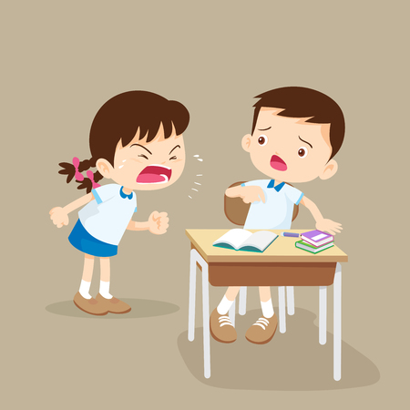 Quarreling kids. angry girl shouting at friend.Raging kids.children shouting to each other.