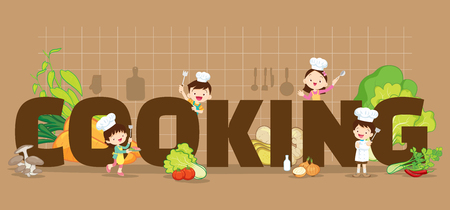 Cooking concept illustration of Little Chef Boy and Girl various actions with elements ,vegetable,kitchenware around big Letter. Иллюстрация