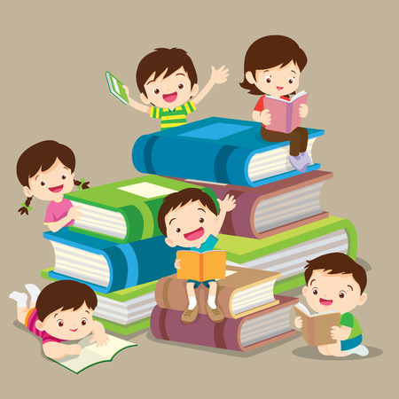Kids Reading Books And Enjoying Literature Set Of Cute Boys And Girls Loving To Read Sitting And Laying Surrounded With Piles Of Books. 向量圖像
