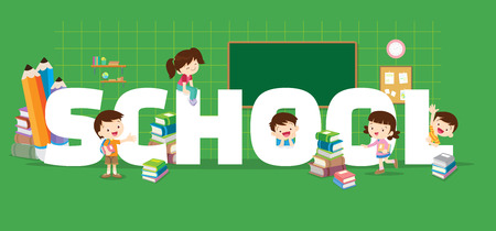 School concept illustration. Students Boy and Girl Reading and learning various actions with elements ,Books, chalk board around big Letter. Иллюстрация