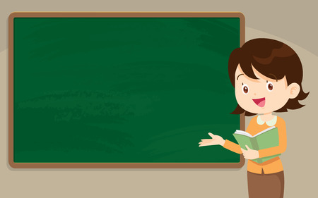 Young Teacher in front of chalkboard with copy space for your text.