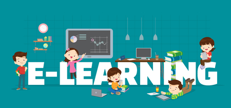 E-Learning concept illustration of Students Boy and Girl Reading and learning technology various actions with elements around big Letter.