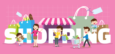 mujer en el supermercado: Family Shopping concept illustration of  Dad,son,mom daughter are shopping various actions with elements ,Bag,Shop,Cart  in Store around big Letter. Vectores