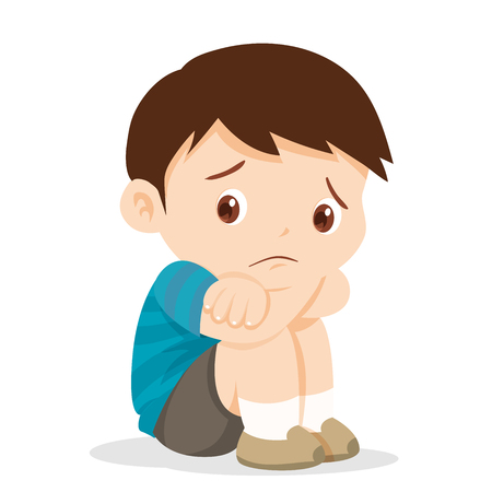 Sad boy,Depressed boy looking lonely .Illustration of a sad child, helpless, bullying.