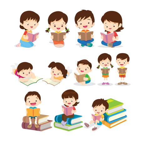 Cute Children Sitting while Reading Books.set of Childrens reading book various actions. Ilustração