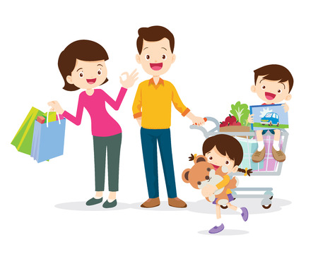 family shopping characters isolated on white background, cartoon style,Dad son mom daughter are shopping. Ilustracja