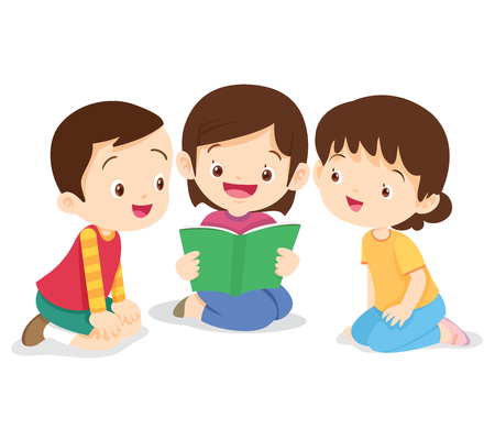 Kids reading book, boy and girl sit and read book. Children listen friend reading a book.