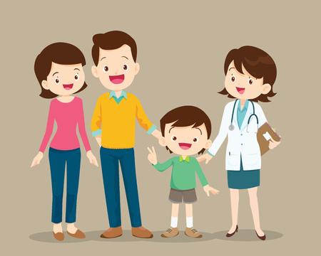 Famiglia carina che visita il dottore. Vector l'illustrazione di un papà, di una mamma e di un figlio nell'ambulatorio.