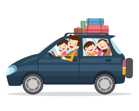 Traveling family. A young family with children go on a trip by car.People set father, mother and children sitting in Car.