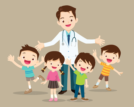 Doctor and kids.Children Clinging on to a Pediatrician.Boy and Girl Be happy Around the smart doctor.